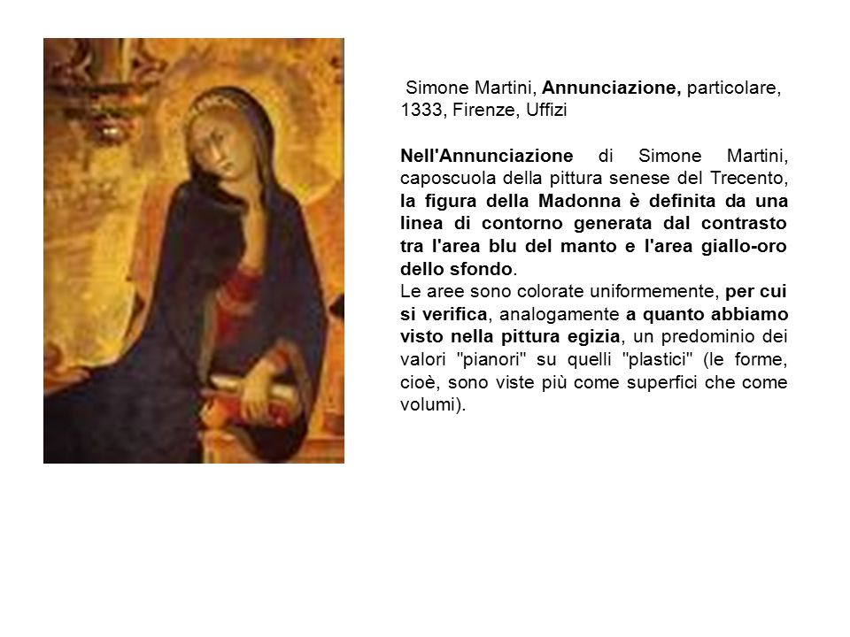Simone Martini, Annunciazione, particolare, 1333, Firenze, Uffizi
