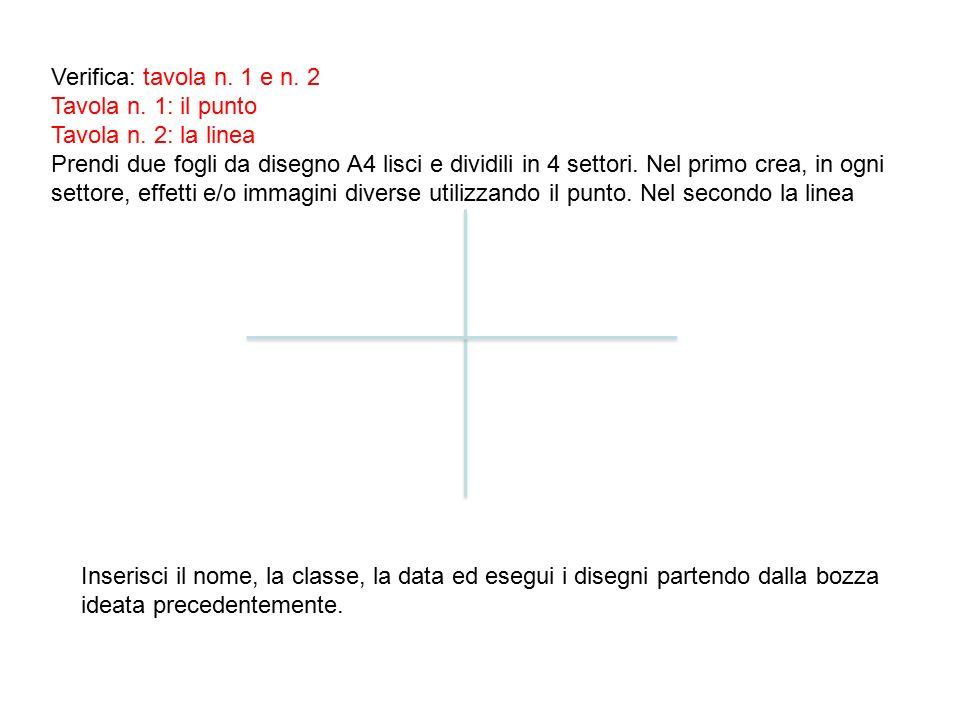 Verifica: tavola n. 1 e n. 2 Tavola n. 1: il punto. Tavola n. 2: la linea.