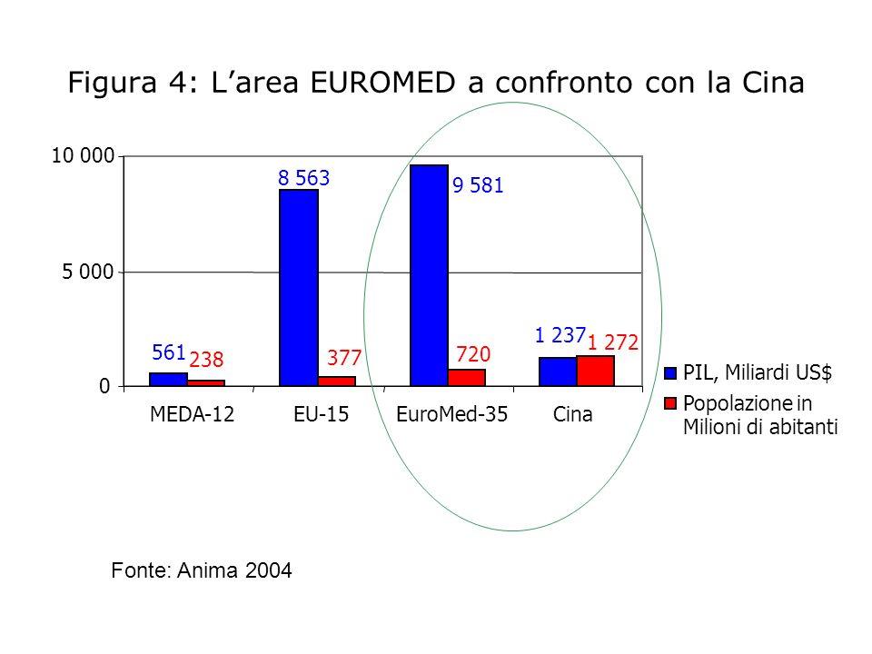 Figura 4: L'area EUROMED a confronto con la Cina