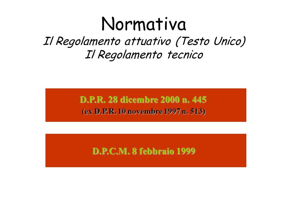 Normativa Il Regolamento attuativo (Testo Unico) Il Regolamento tecnico