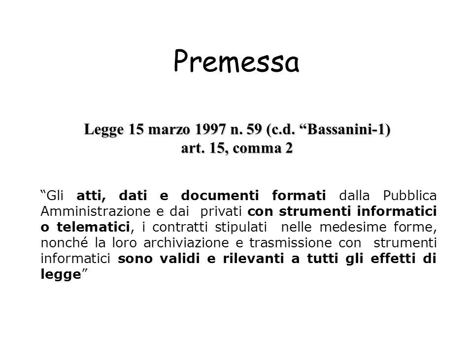 Legge 15 marzo 1997 n. 59 (c.d. Bassanini-1)