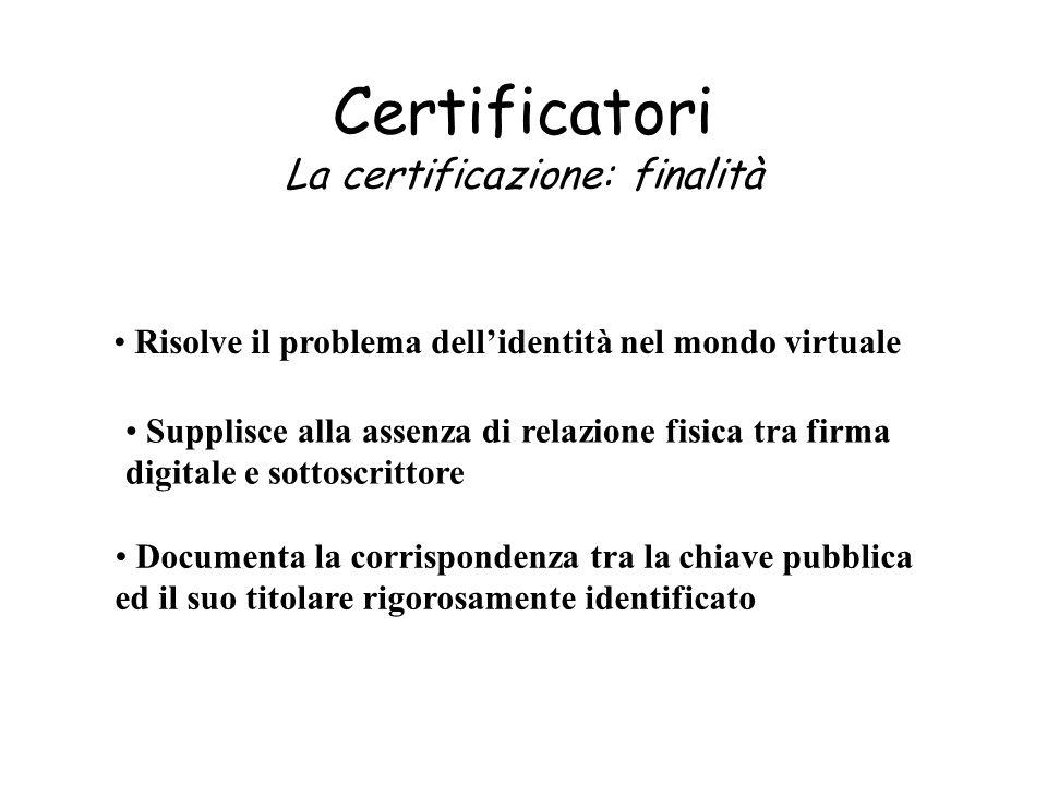 Certificatori La certificazione: finalità