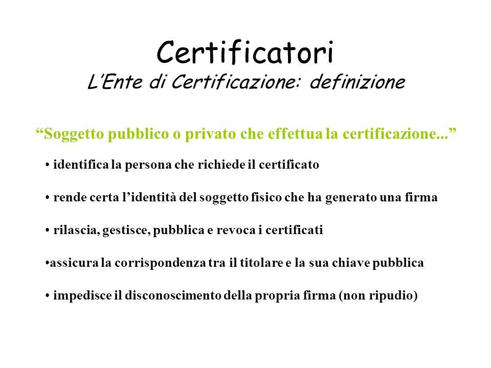Certificatori L'Ente di Certificazione: definizione