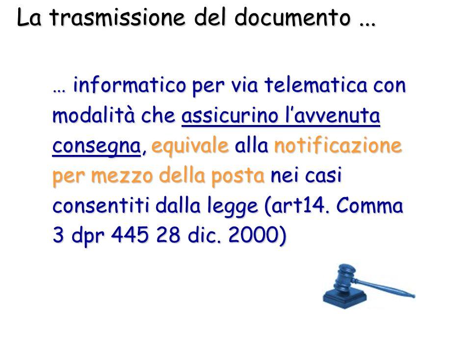 La trasmissione del documento ...