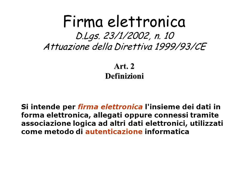 Firma elettronica D. Lgs. 23/1/2002, n