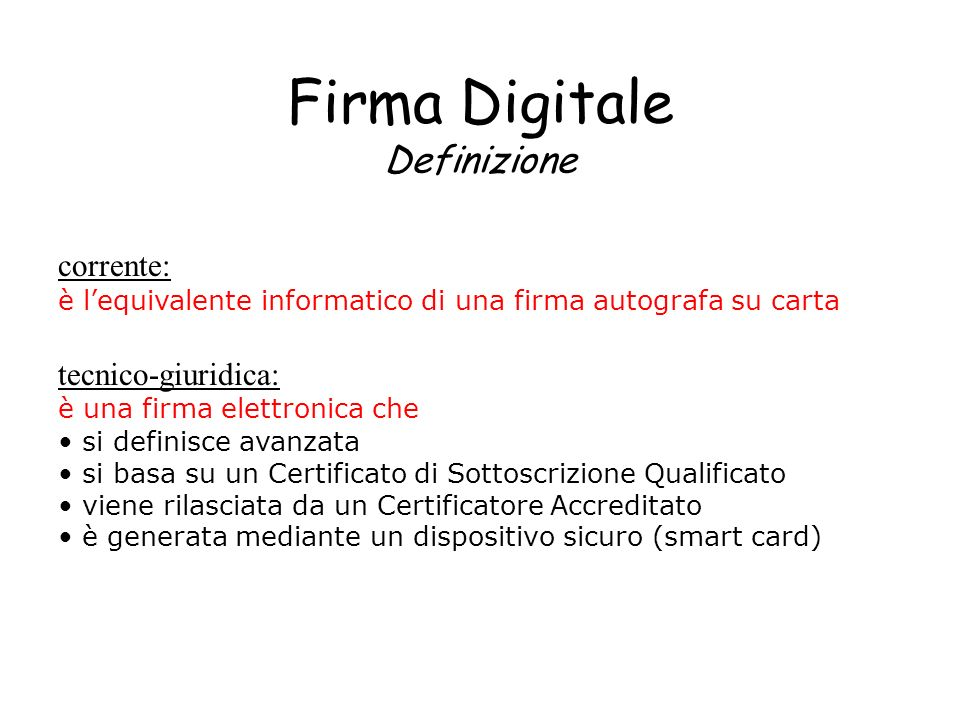 Firma Digitale Definizione
