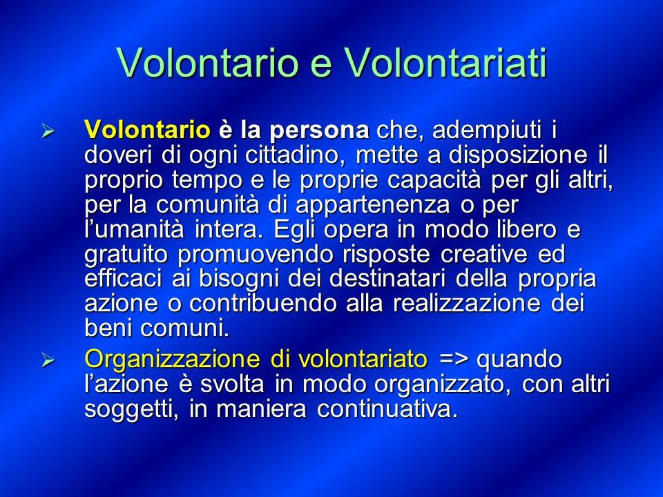 Volontario e Volontariati