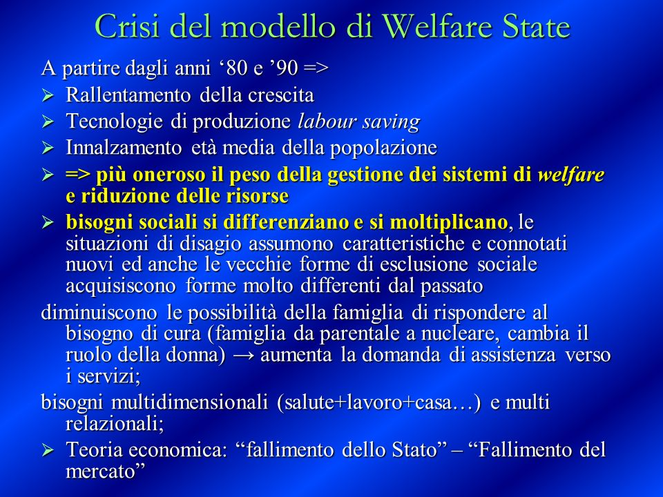Crisi del modello di Welfare State