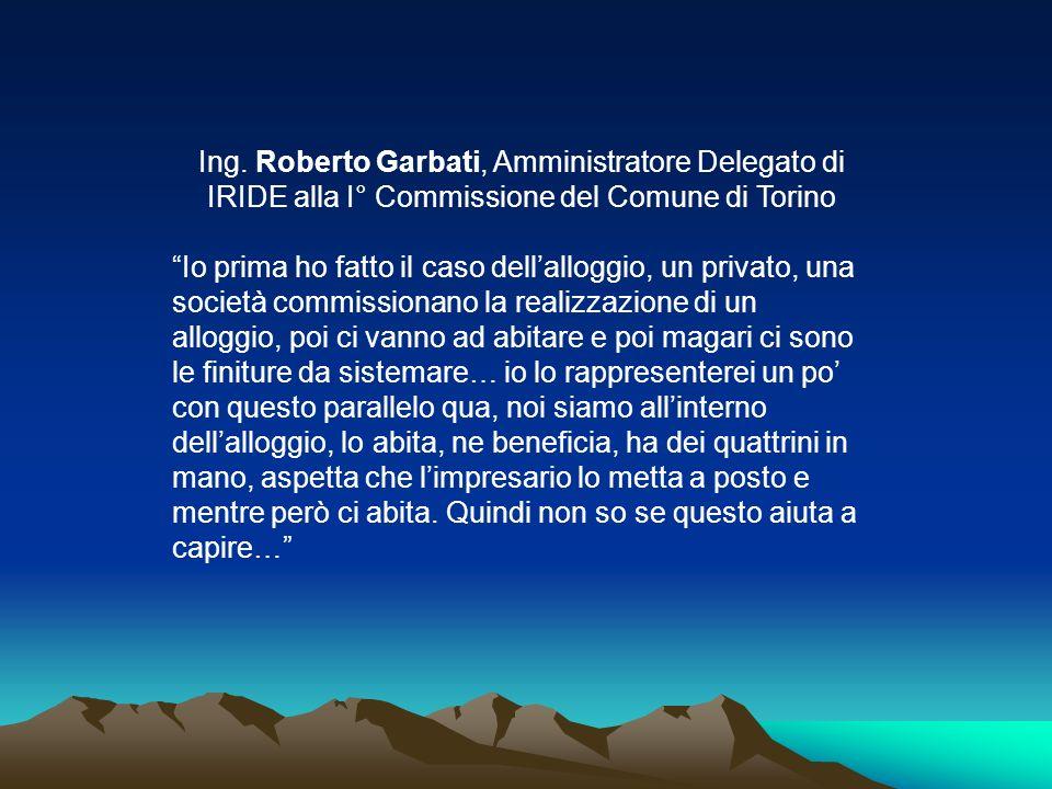 Ing. Roberto Garbati, Amministratore Delegato di IRIDE alla I° Commissione del Comune di Torino