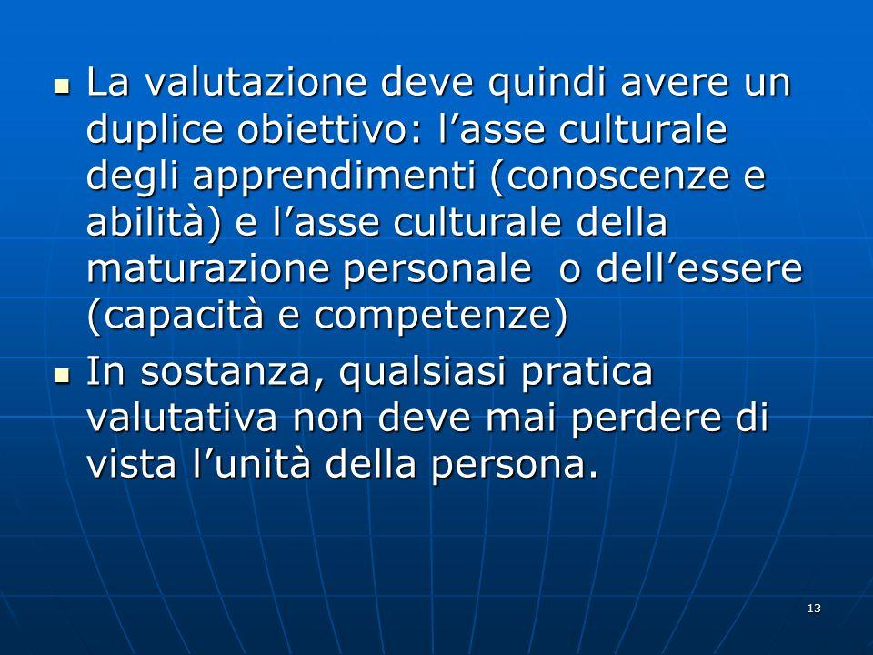 La valutazione deve quindi avere un duplice obiettivo: l'asse culturale degli apprendimenti (conoscenze e abilità) e l'asse culturale della maturazione personale o dell'essere (capacità e competenze)