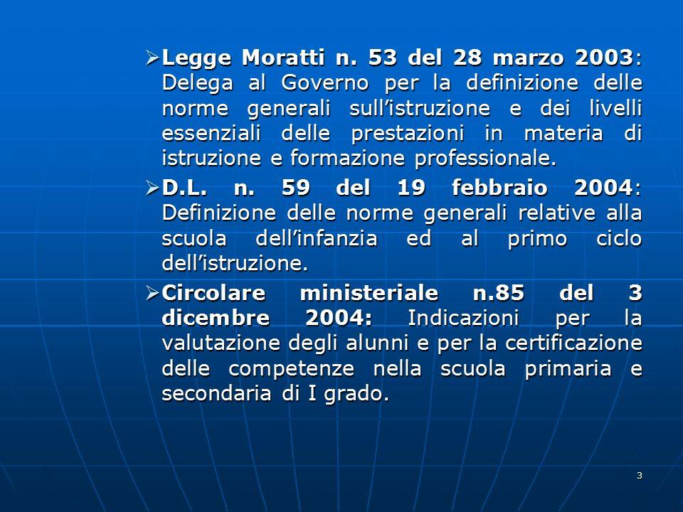 Legge Moratti n. 53 del 28 marzo 2003: Delega al Governo per la definizione delle norme generali sull'istruzione e dei livelli essenziali delle prestazioni in materia di istruzione e formazione professionale.