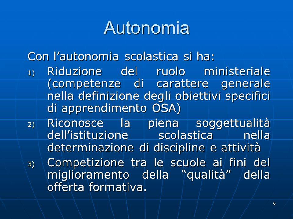 Autonomia Con l'autonomia scolastica si ha: