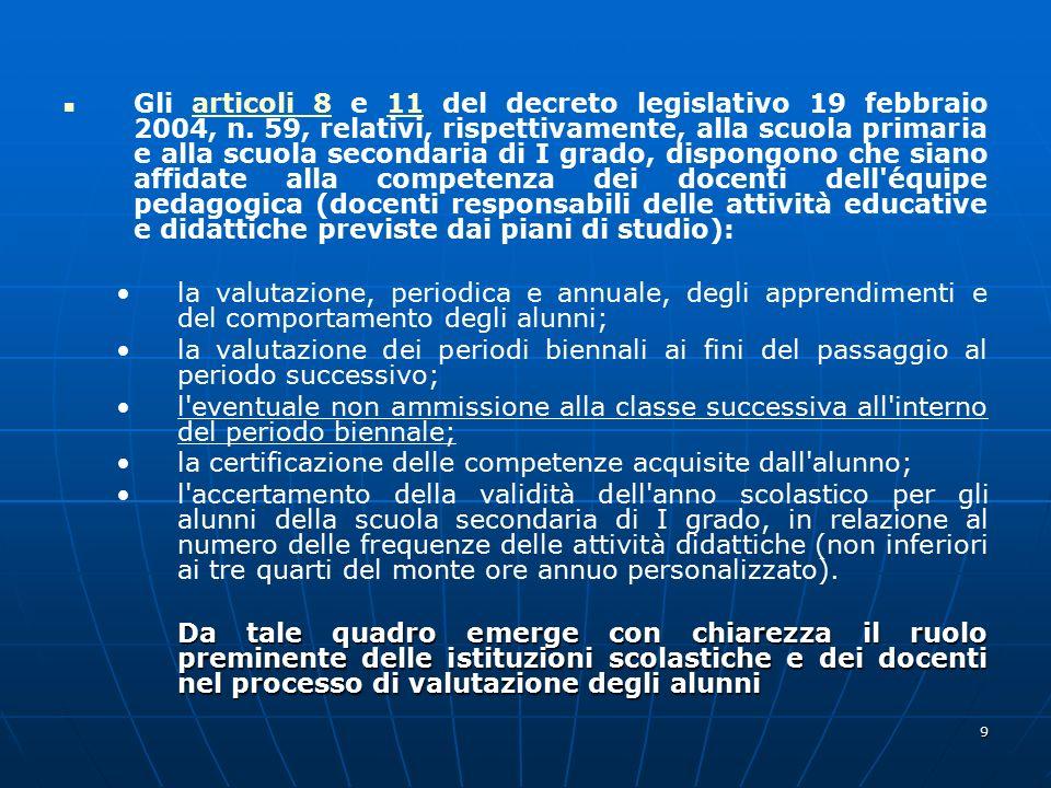 Gli articoli 8 e 11 del decreto legislativo 19 febbraio 2004, n