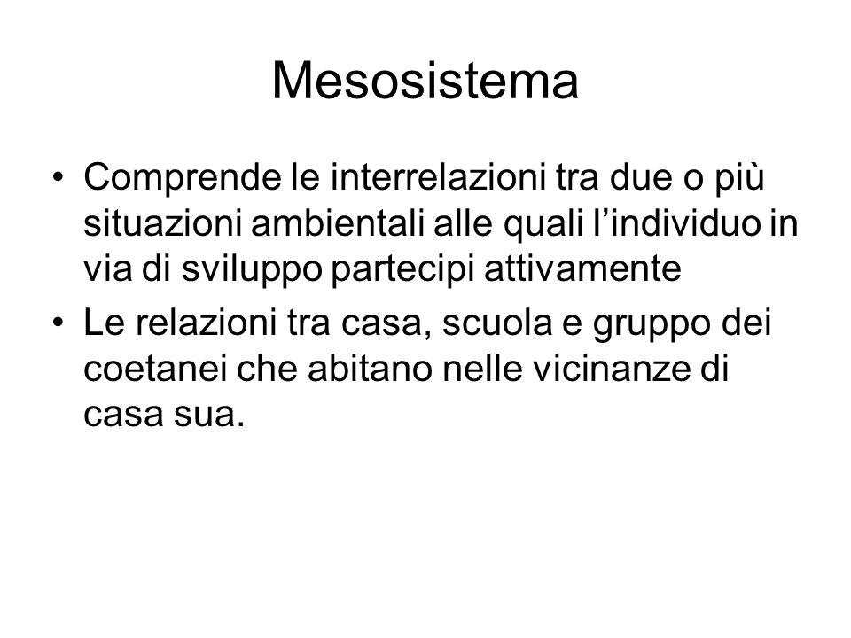 Mesosistema Comprende le interrelazioni tra due o più situazioni ambientali alle quali l'individuo in via di sviluppo partecipi attivamente.
