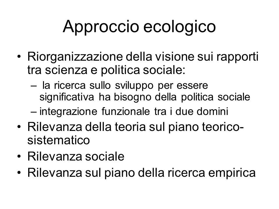 Approccio ecologico Riorganizzazione della visione sui rapporti tra scienza e politica sociale: