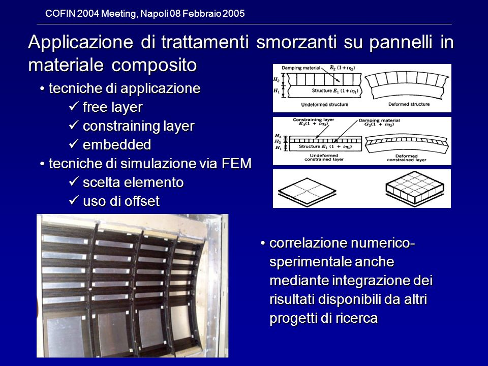 Applicazione di trattamenti smorzanti su pannelli in materiale composito