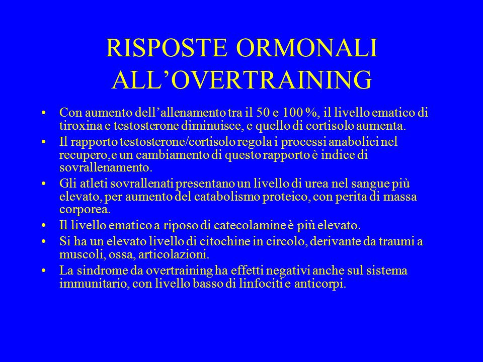 RISPOSTE ORMONALI ALL'OVERTRAINING