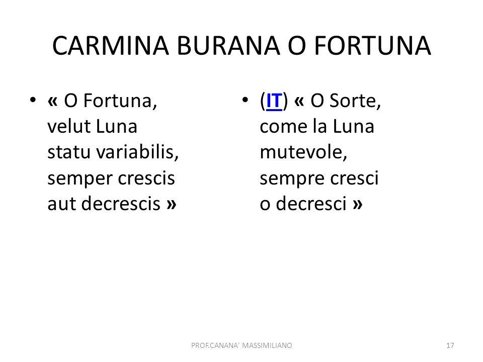 CARMINA BURANA O FORTUNA