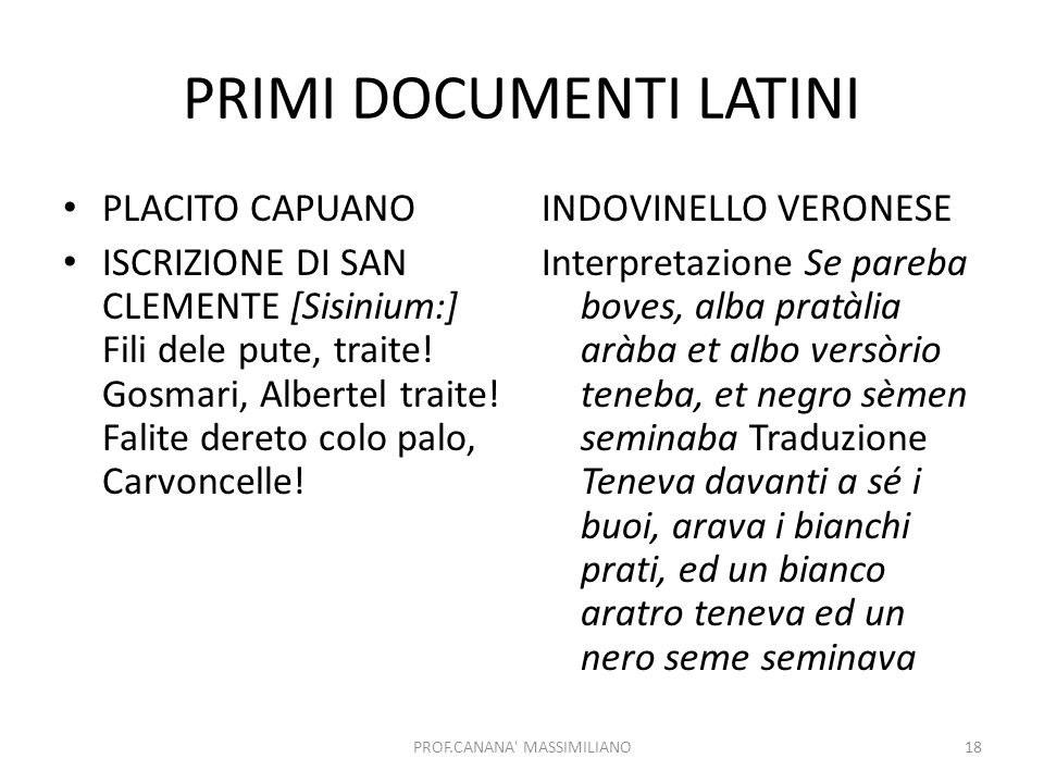 PRIMI DOCUMENTI LATINI