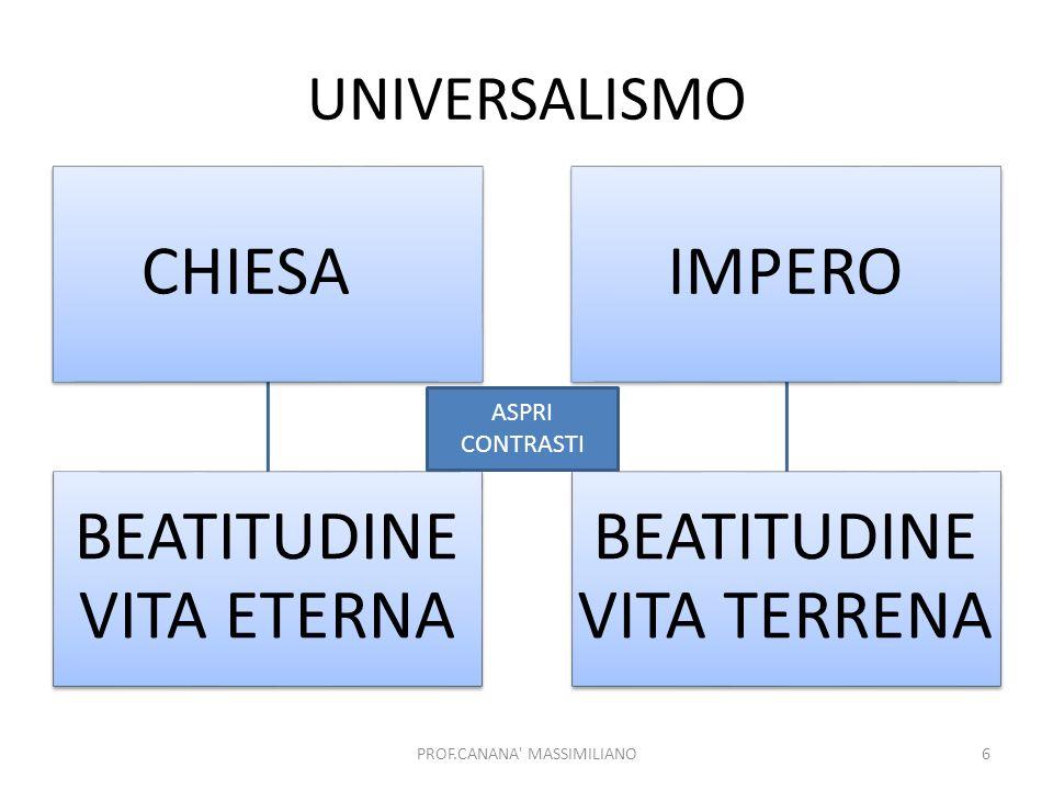 UNIVERSALISMO ASPRI CONTRASTI PROF.CANANA MASSIMILIANO CHIESA