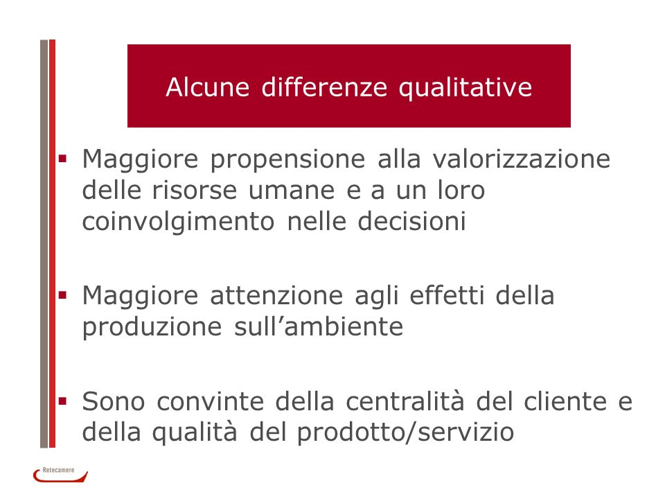 Alcune differenze qualitative