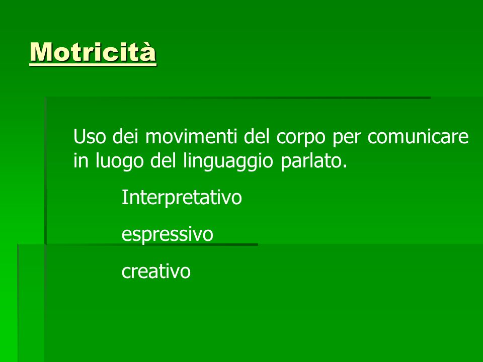 Motricità Uso dei movimenti del corpo per comunicare in luogo del linguaggio parlato. Interpretativo.
