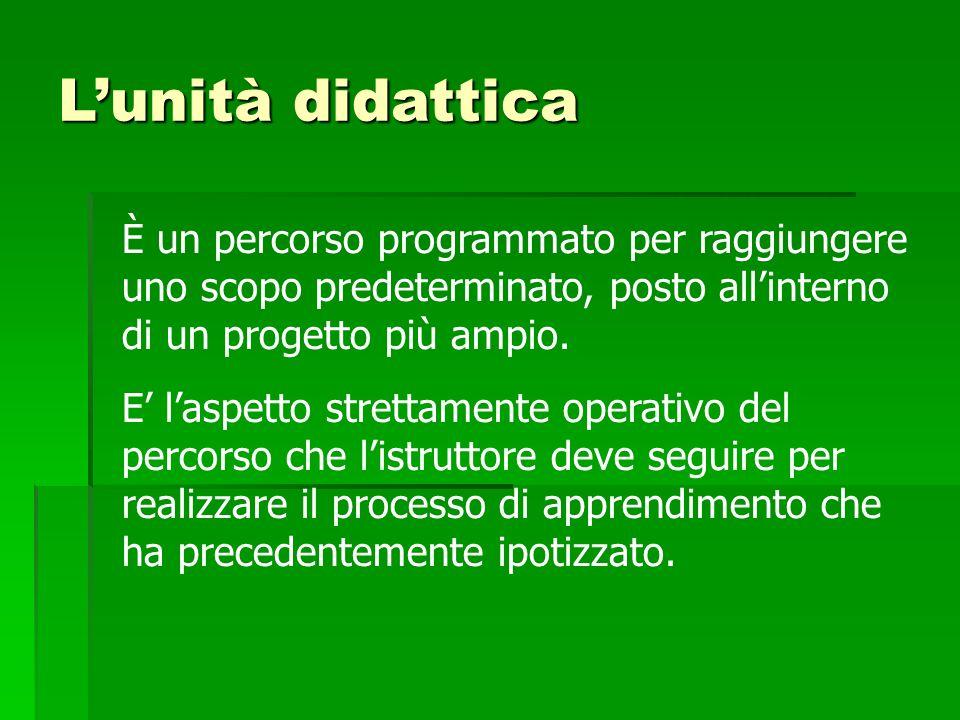 L'unità didattica È un percorso programmato per raggiungere uno scopo predeterminato, posto all'interno di un progetto più ampio.