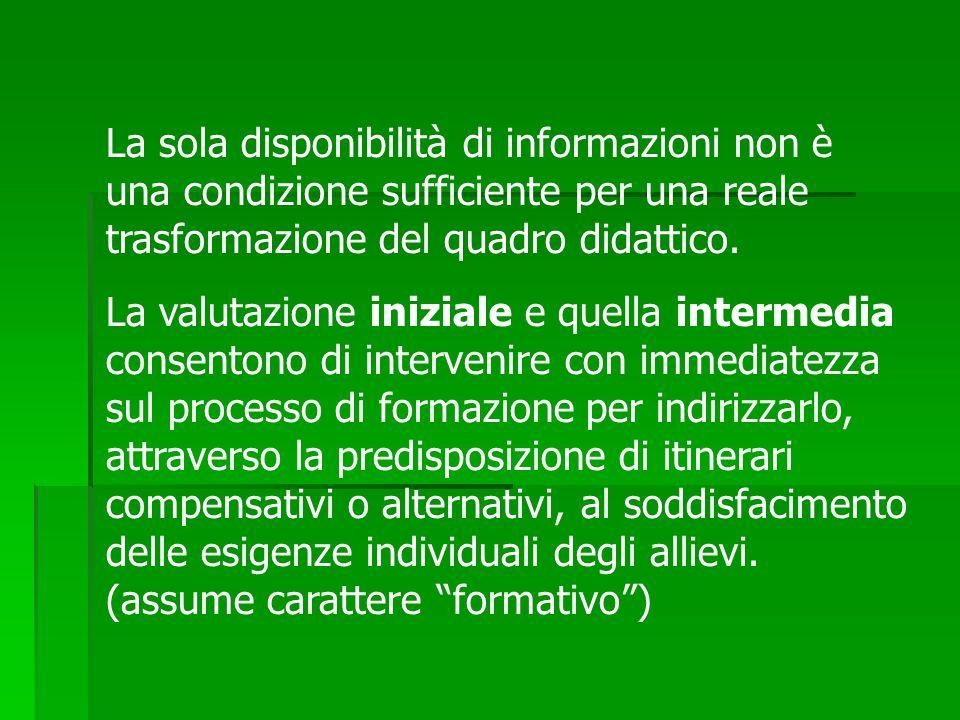 La sola disponibilità di informazioni non è una condizione sufficiente per una reale trasformazione del quadro didattico.
