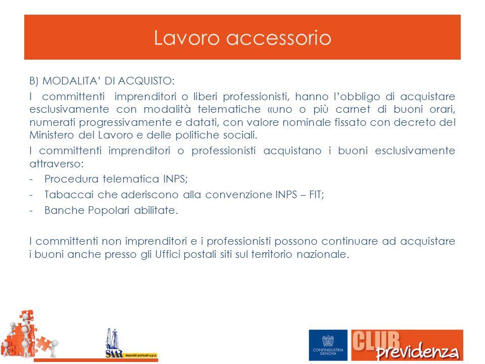 Lavoro accessorio B) MODALITA' DI ACQUISTO: