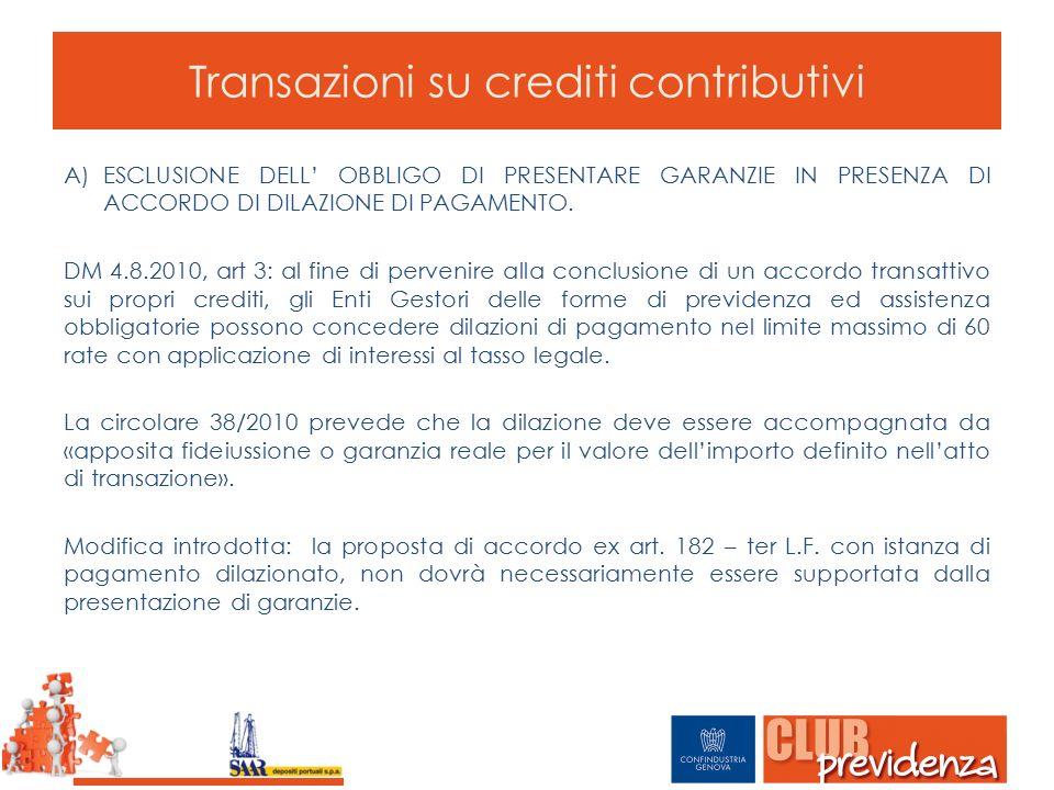 Transazioni su crediti contributivi