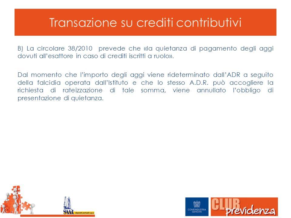 Transazione su crediti contributivi