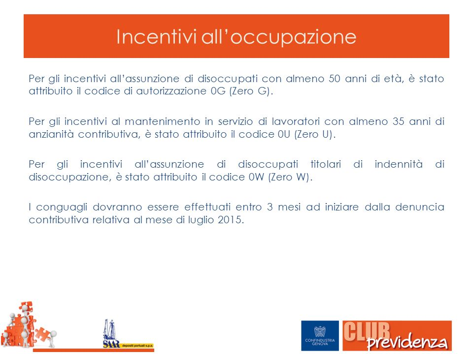 Incentivi all'occupazione