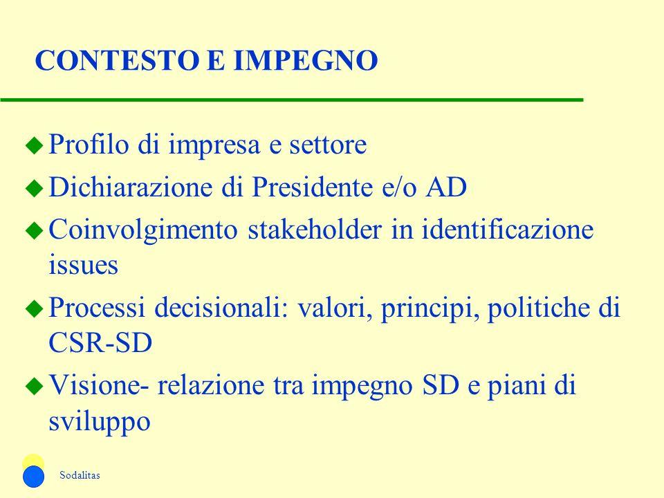 Profilo di impresa e settore Dichiarazione di Presidente e/o AD