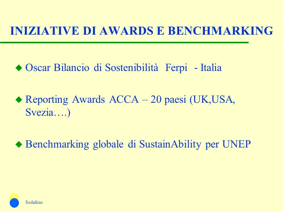 INIZIATIVE DI AWARDS E BENCHMARKING