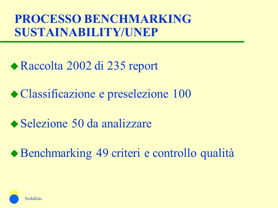 PROCESSO BENCHMARKING SUSTAINABILITY/UNEP