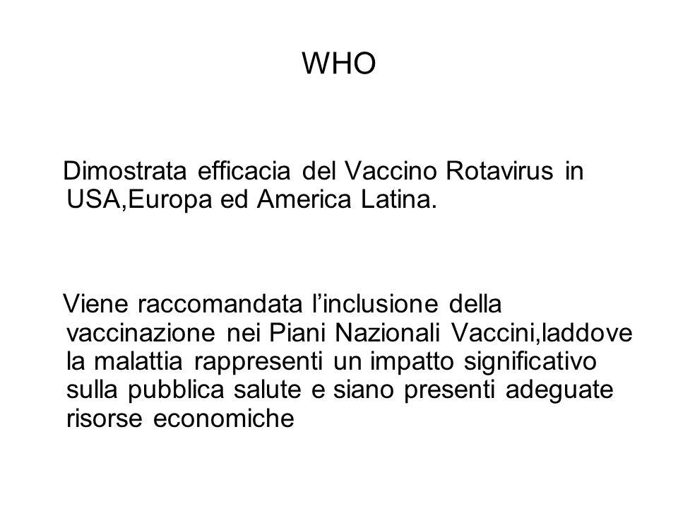 WHO Dimostrata efficacia del Vaccino Rotavirus in USA,Europa ed America Latina.