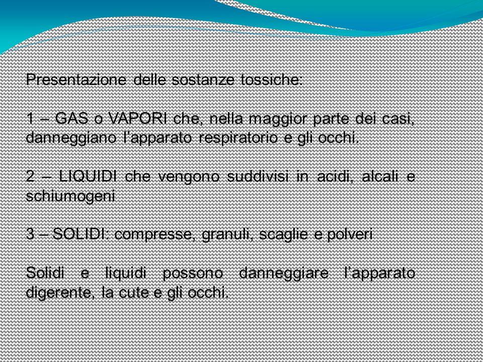 Presentazione delle sostanze tossiche: