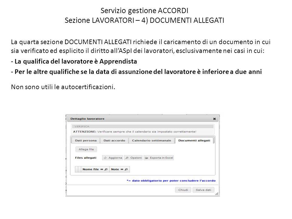 Servizio gestione ACCORDI Sezione LAVORATORI – 4) DOCUMENTI ALLEGATI