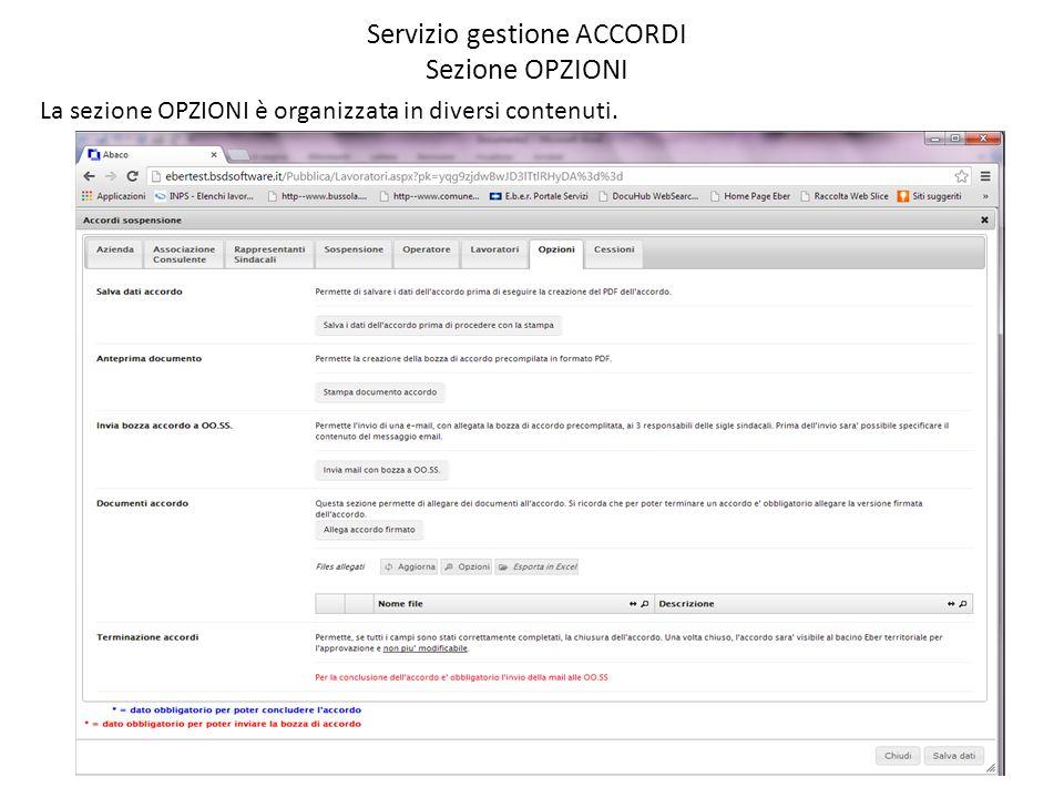 Servizio gestione ACCORDI Sezione OPZIONI