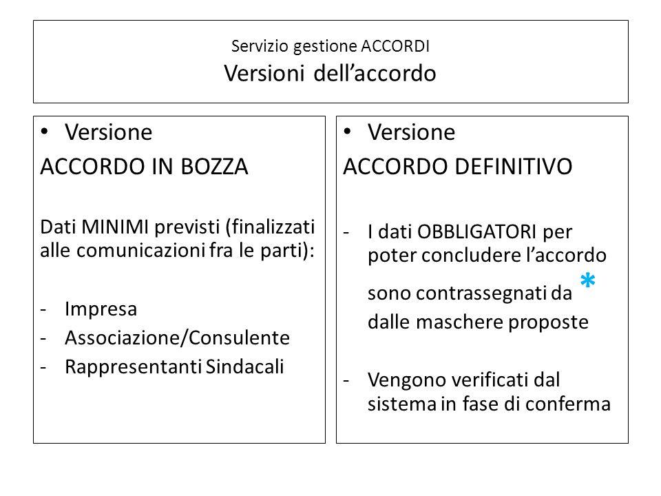 Servizio gestione ACCORDI Versioni dell'accordo