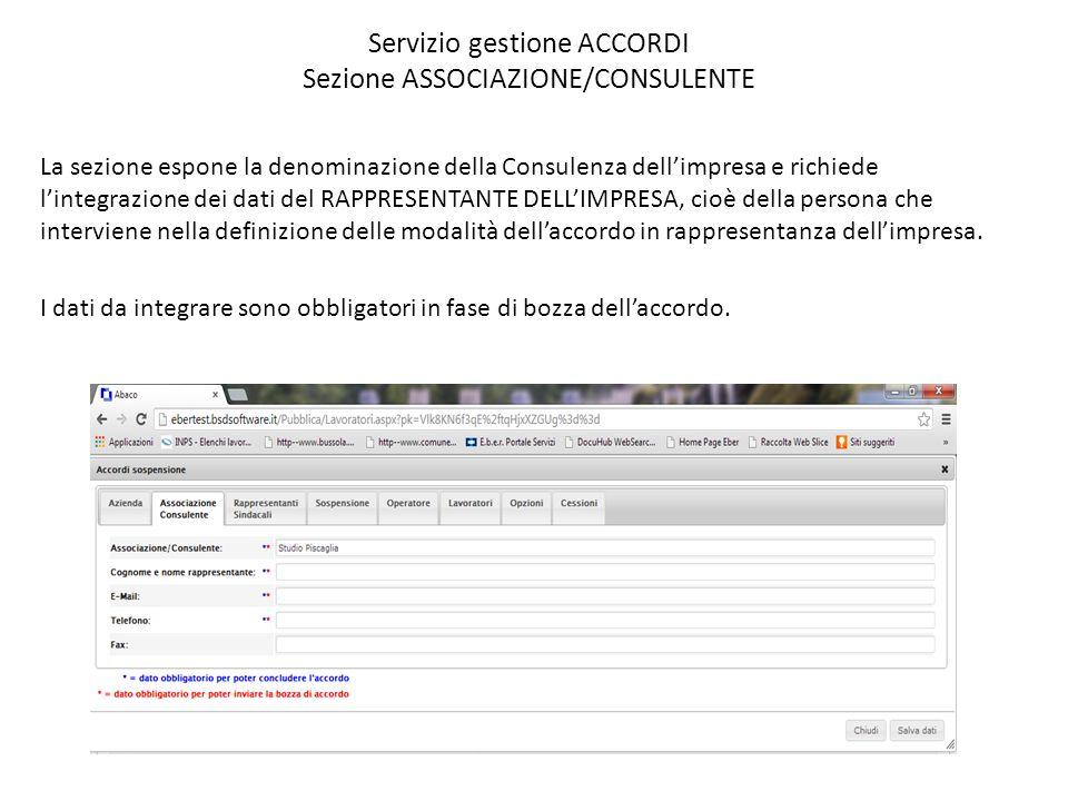 Servizio gestione ACCORDI Sezione ASSOCIAZIONE/CONSULENTE
