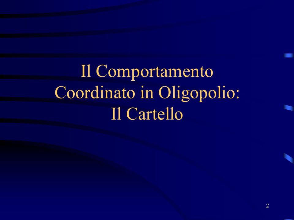 Il Comportamento Coordinato in Oligopolio: Il Cartello