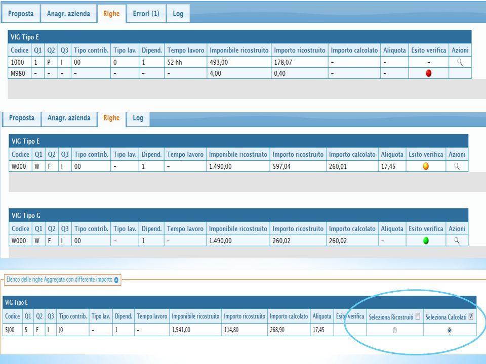 In caso di differenza denunciato/calcolato è possibile scegliere cosa importare nel Vig.