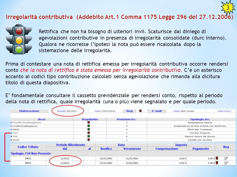 3 Irregolarità contributiva (Addebito Art.1 Comma 1175 Legge 296 del 27.12.2006)