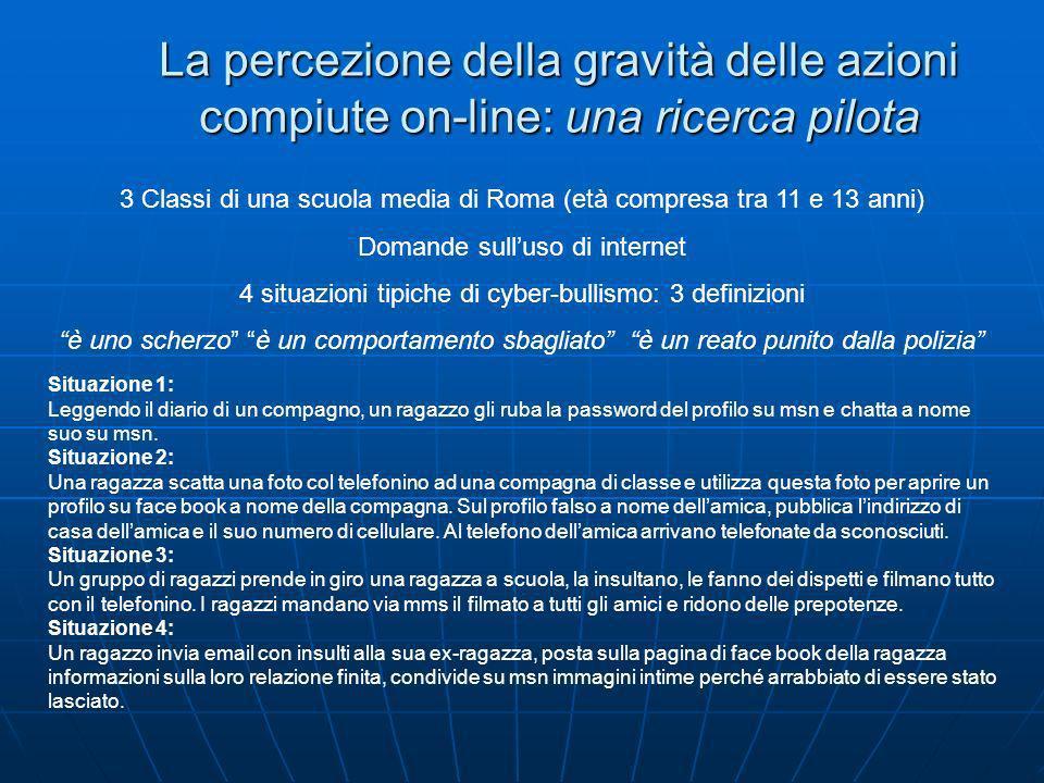 La percezione della gravità delle azioni compiute on-line: una ricerca pilota