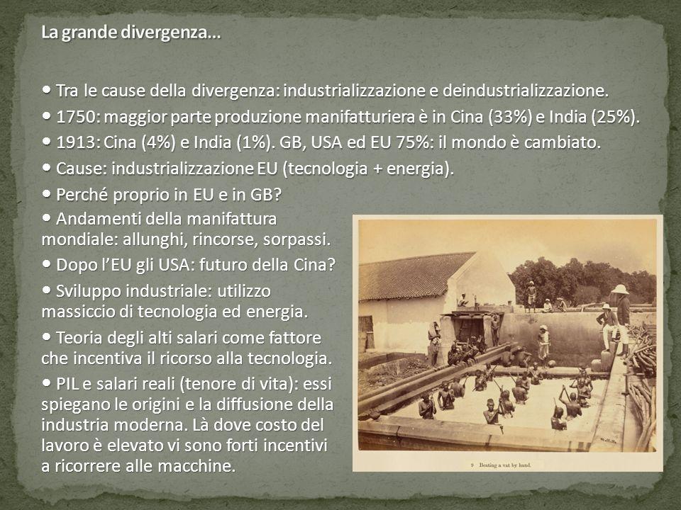 La grande divergenza…  Tra le cause della divergenza: industrializzazione e deindustrializzazione.