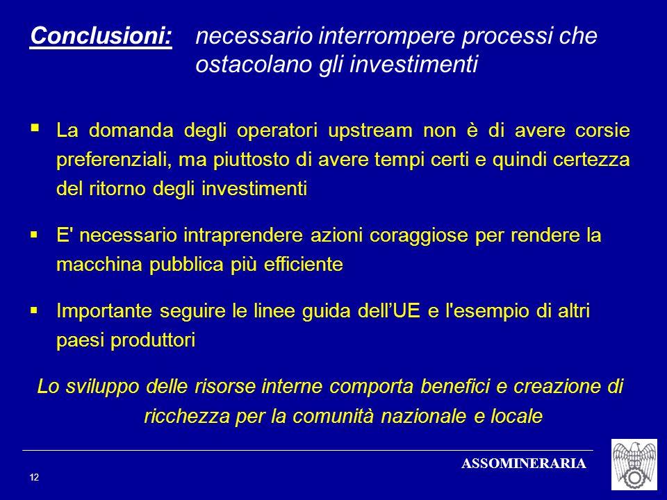 Conclusioni: necessario interrompere processi che ostacolano gli investimenti