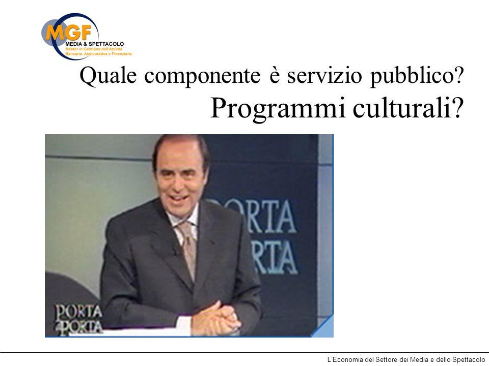 Quale componente è servizio pubblico Programmi culturali