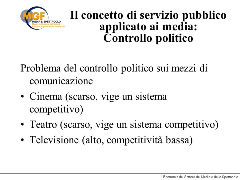 Il concetto di servizio pubblico applicato ai media: Controllo politico