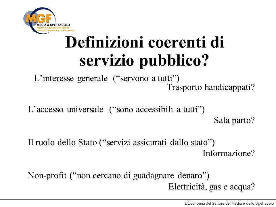 Definizioni coerenti di servizio pubblico